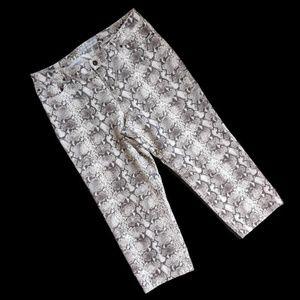 Chico's Snakeskin Denim Capri Pants 2.5 = 14 (T8)